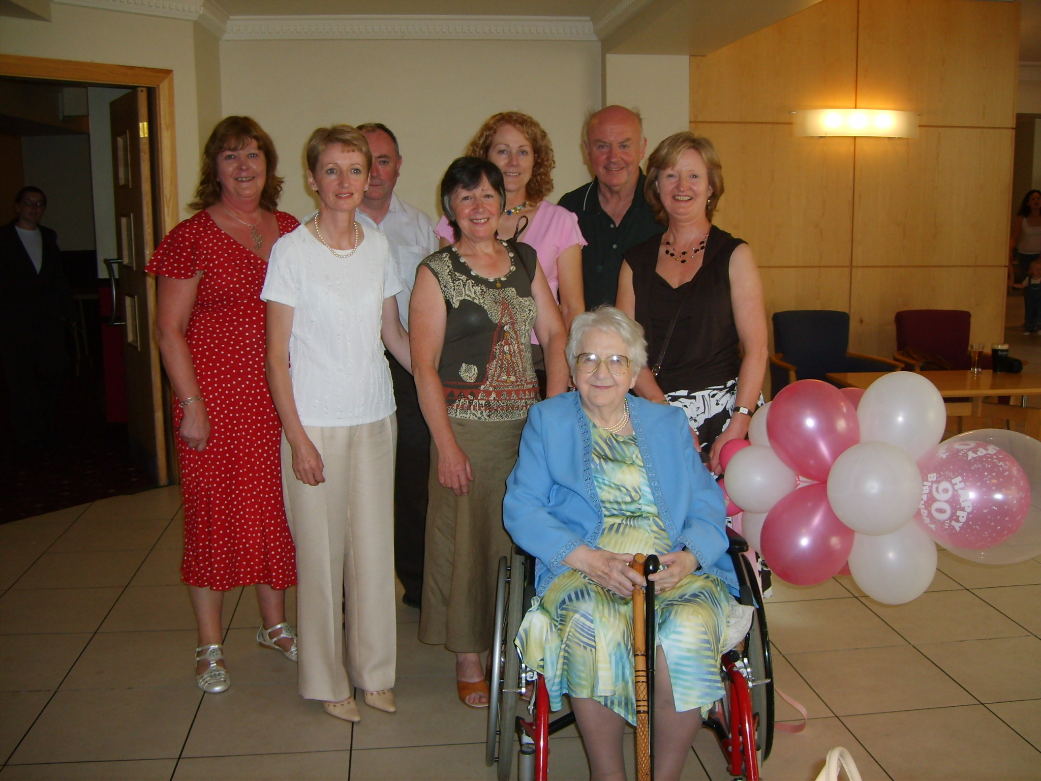 Mai Tallent on her 90th Birthday with some of her family