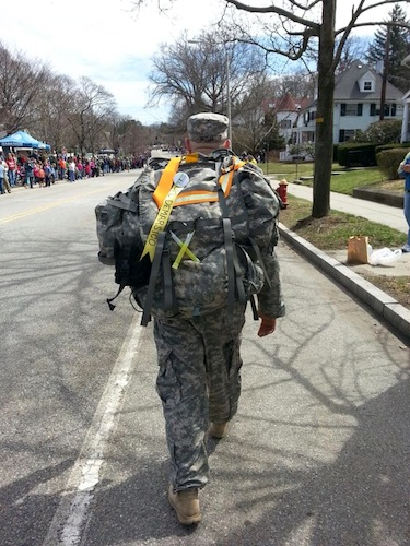 a Tough Ruck soldier marching the marathon course.  Military Friends Foundation